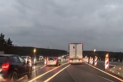 Cars and Truck at autobahn with road works, Germany.  Stock Images