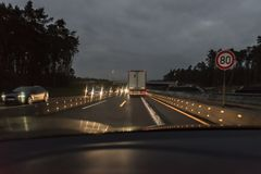 Cars and Truck at autobahn with road works, Germany.  Stock Photography