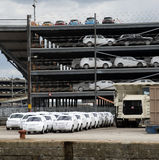 Cars and trucks await export from docks UK Royalty Free Stock Photography