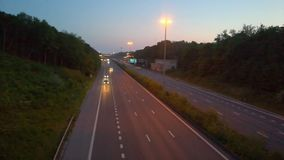 Cars and trucks on a highway stock video