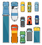 Cars and trucks top view set Royalty Free Stock Photos