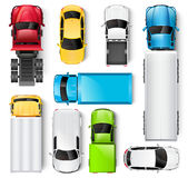 Cars and trucks top view Stock Photos