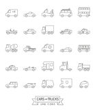 Cars and Trucks Vector Line Icons Collection Stock Photos