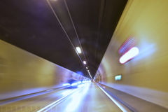 Cars in a tunnel - slow shutter speed Stock Images
