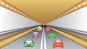 Cars in the tunnel trajectory Royalty Free Stock Image