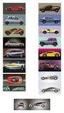 Cars. Vector set of unique models of cars. Vector illustration Royalty Free Stock Photos