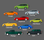 Cars types. Different car types icons set in detailed flat style. Sedan and minivan, hatchback and coupe. Car sale concept Stock Images