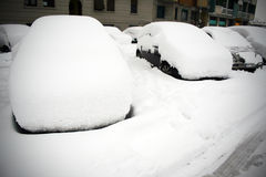 Cars under snow Stock Photography