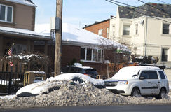 Cars under snow in Brooklyn after massive winter storms Stock Photos