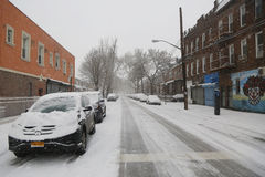 Cars under snow in Brooklyn, NY during massive Winter Storm Thor Royalty Free Stock Images