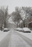 Cars under snow in Brooklyn, NY during massive Winter Storm Thor Royalty Free Stock Image