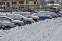 Cars under snow. Brought cars in a night a snow layer Royalty Free Stock Images
