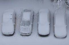 Cars under the snow Royalty Free Stock Image