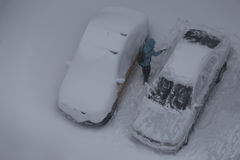 Cars under the snow. One is snow. Royalty Free Stock Photo