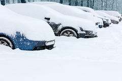 Cars under snow Stock Image