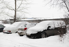 Cars under snow on parking place Royalty Free Stock Image