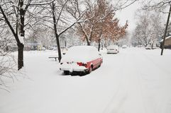 Cars under the snow Stock Image