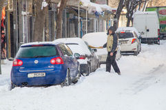 Cars under snow on the streets in winter Pomorie, Bulgaria Royalty Free Stock Photos