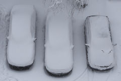 Cars under the snow Royalty Free Stock Photos