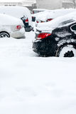 Cars under snow in winter Stock Photo
