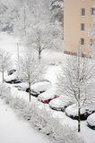 Cars under snow Stock Images