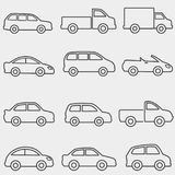 Cars, vans and truck line icons Stock Photos