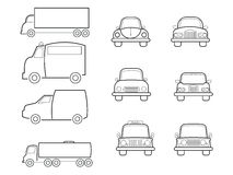 Cars vans and truck line icons set Stock Photo