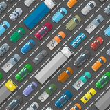 Cars vehicle city transport traffic jam road problems vector seamless pattern background. Street top view with cars, trucks, bus vector illustration