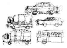 Cars and vehicle drawing illustration Royalty Free Stock Photos