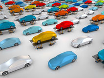 Cars on vehicle lifts. 3D rendering: cars on vehicle lifts Stock Images