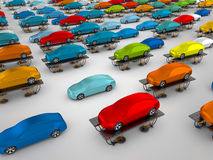 Cars on vehicle lifts. 3D rendering: cars on vehicle lifts Royalty Free Stock Photography