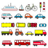 Cars and vehicles transport  set. Urban, city cars and vehicles transport  set. Car vehicle, car transport, taxi and car transportation illustration Stock Photos