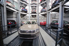 Cars Volkswagen in the tower for storage Stock Image