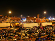 Cars waiting for ferry in Livorno (Leghorn) harbour Royalty Free Stock Photography