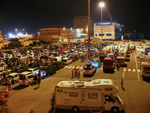 Cars waiting for ferry in Livorno (Leghorn) harbour Royalty Free Stock Photo