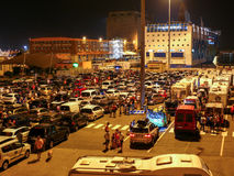 Cars waiting for ferry in Livorno (Leghorn) harbour Royalty Free Stock Images