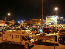 Cars waiting for ferry in Livorno (Leghorn) harbour Stock Image