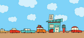 Cars waiting in line at the gas station Royalty Free Stock Photo