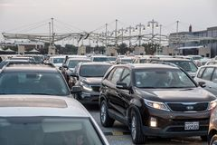 Cars waiting to cross Bahrain Saudi border Stock Images