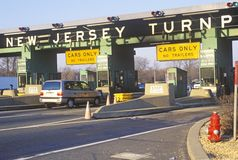 Cars waiting to pass the New Jersey Turnpike Tollbooth Stock Image