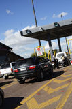 Cars waiting at a Toll Gate Royalty Free Stock Images