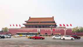 Cars on West Chang`an Avenue near The Tiananmen Stock Image