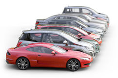 Cars  on white background Royalty Free Stock Photo