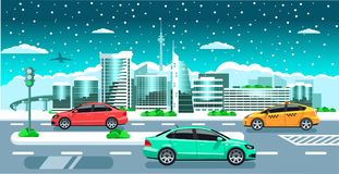Cars on the winter city panorama. Modern snowy buildings. Tv tower, jet multicolored cars on the snowfall background flat  illustration Stock Image