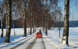 Cars winter road Stock Image