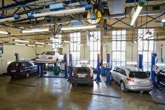 Cars in workshop of Service station Avtostandart Stock Photography
