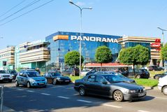 Cars in Zverynas district in Vilnius city and Panorama shop center Royalty Free Stock Photography