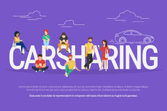 Carsharing concept illustration Royalty Free Stock Photo