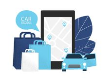 Carsharing concept. Rent car for shopping. stock illustration