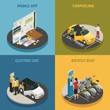 Carsharing 2x2 Design Concept. With mobile app electric car bicycle rent and carpooling square icons isometric vector illustration Stock Photo